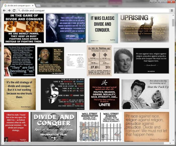 Google Image Search screenshot: Divide & Conquer Quotes