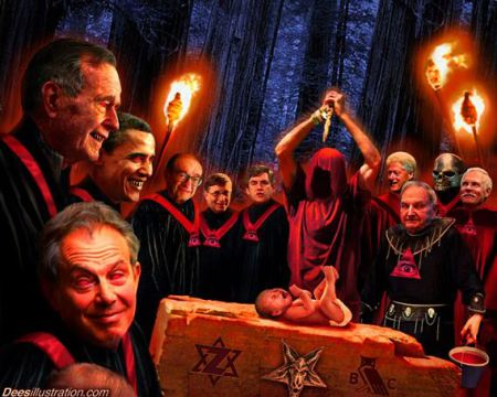 How we see ourselves: innocent victims of the demonic rituals of the dark masters behind the curtain.